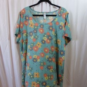 LuLaRoe Perfect T Turquoise with HAPPY flowers 3X